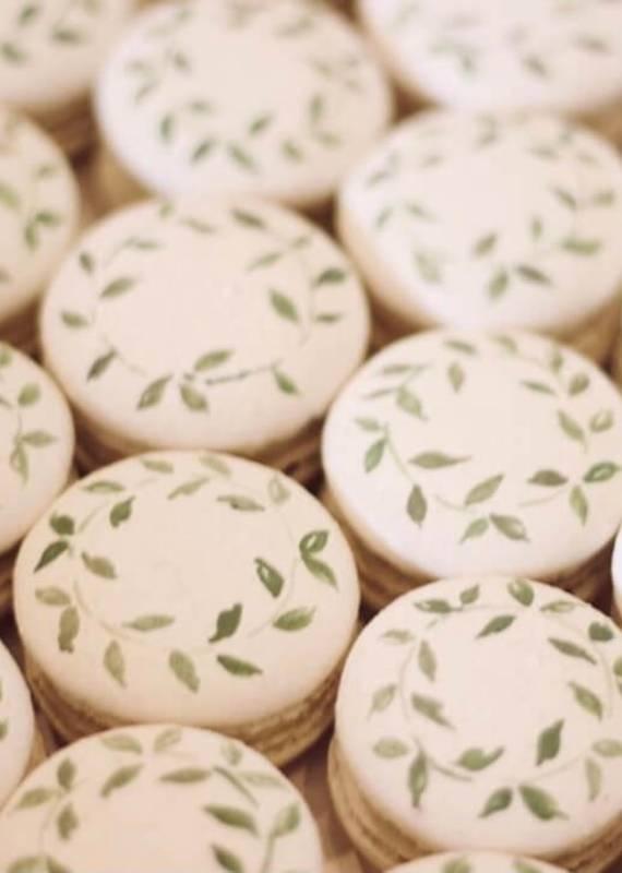Leaf Hand Painted Macarons