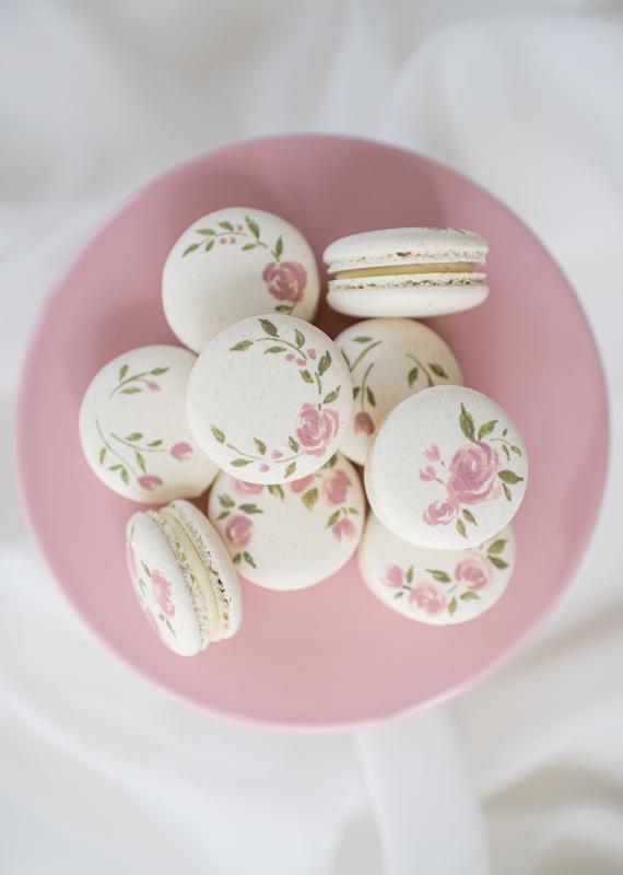 Rose Painted Macaron